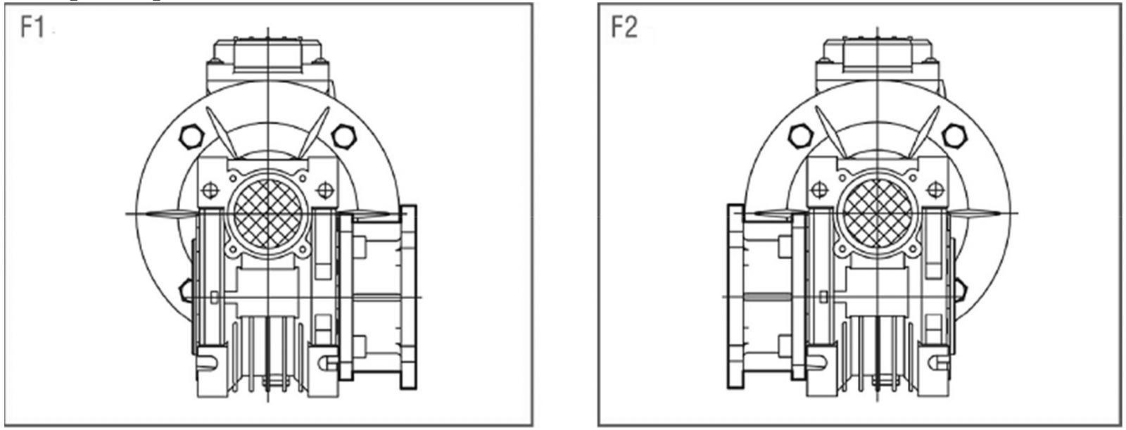 Исполнение опорного фланца редуктора NMRV