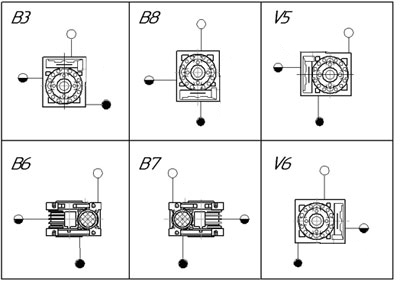 Монтажное исполнение редукторов NRV 130