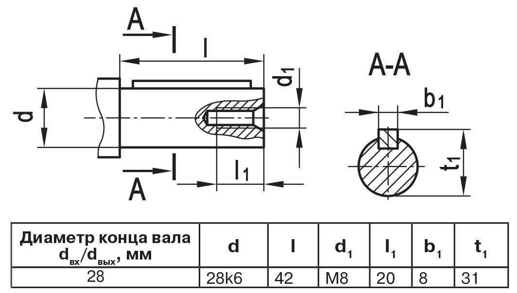 Чертеж выходного вала мотор-редуктора МЧ2 40/63 цилиндр