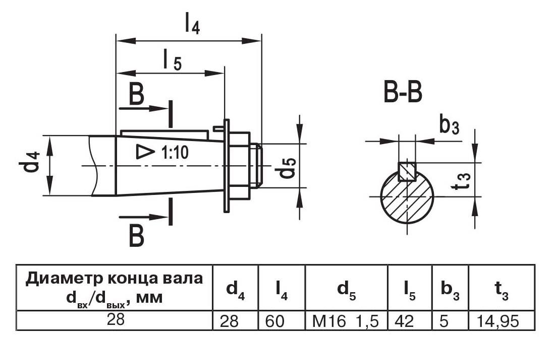 Чертеж выходного вала мотор-редуктора МЧ2 40/63 конусный с наружной резьбой