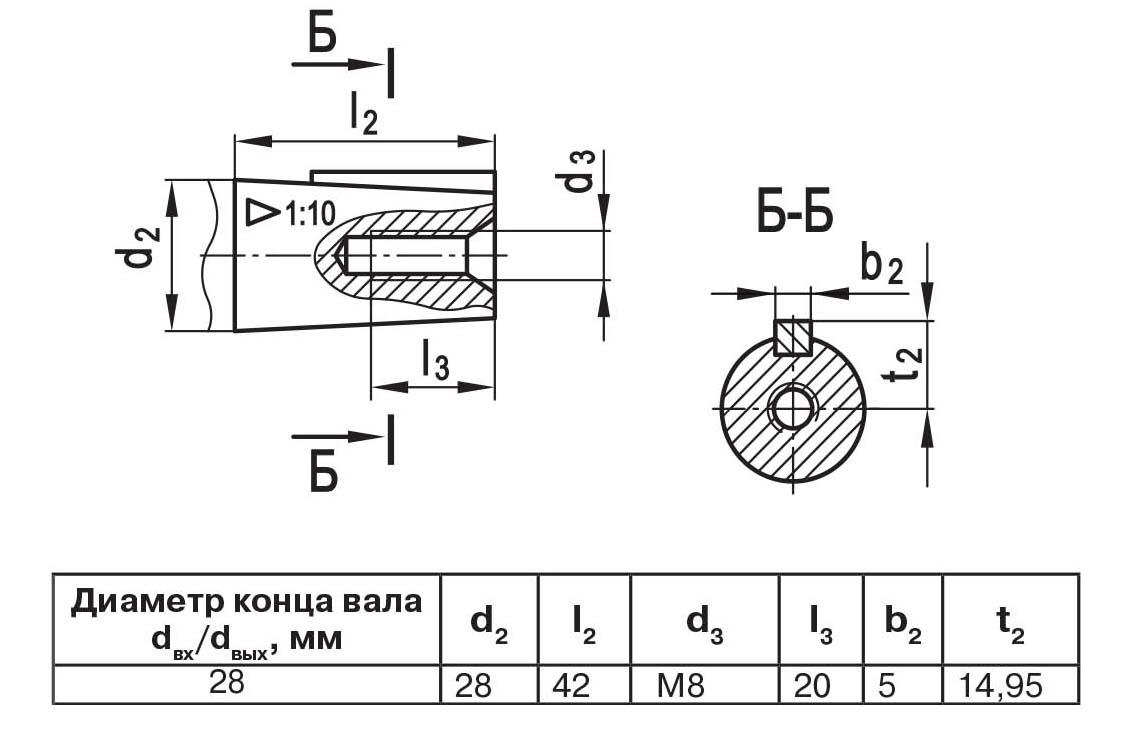 Чертеж выходного вала мотор-редуктора МЧ2 40/63 конус с внутренней резьбой