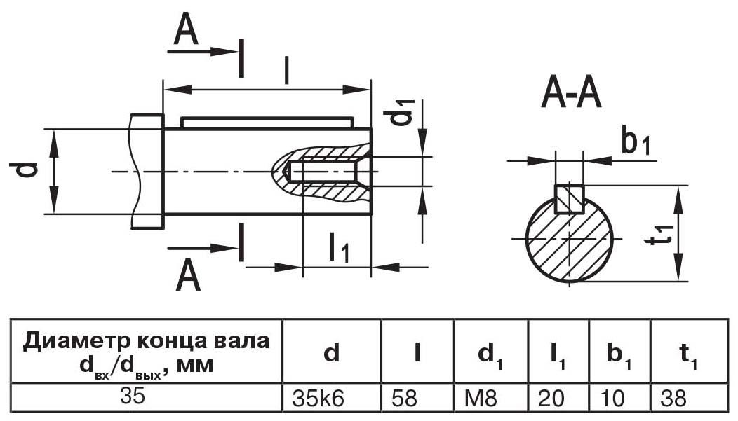 Чертеж выходного вала мотор-редуктора МЧ2 40/80 цилиндр