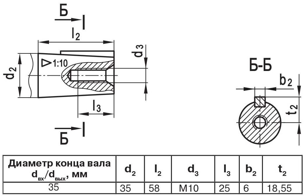 Чертеж выходного вала мотор-редуктора МЧ2 40/80 конус с внутренней резьбой