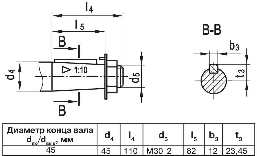 Чертеж выходного вала мотор-редуктора МЧ2 63/100 конусный с наружной резьбой