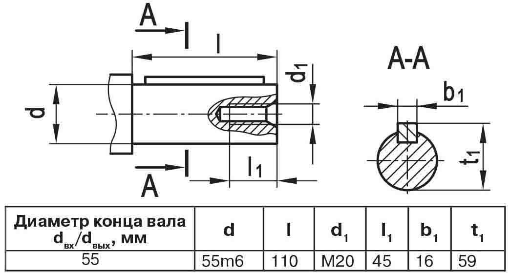 Чертеж выходного вала мотор-редуктора МЧ2 63/125 цилиндр