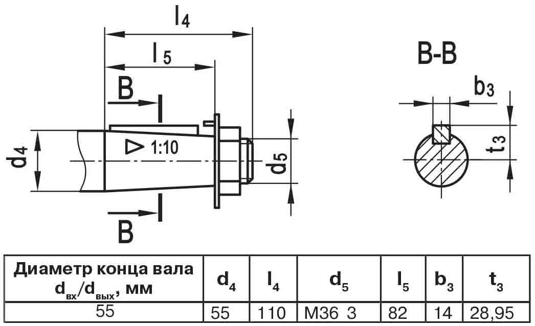 Чертеж выходного вала мотор-редуктора МЧ2 63/125 конусный с наружной резьбой