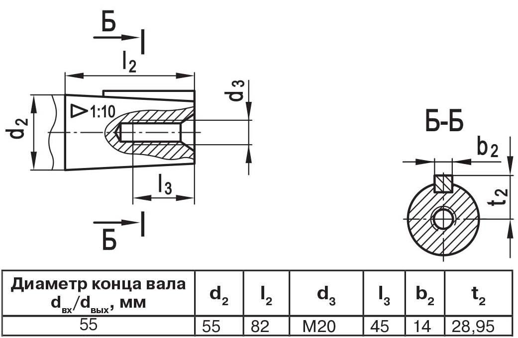 Чертеж выходного вала мотор-редуктора МЧ2 63/125 конус с внутренней резьбой