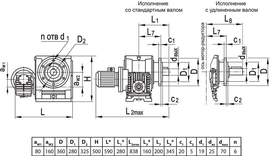 Чертеж мотор-редуктора МЧ2 80/160 с опорным фланцем