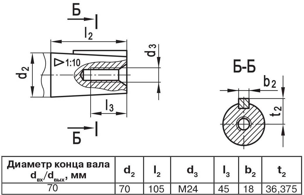 Чертеж выходного вала мотор-редуктора МЧ2 80/160 конус с внутренней резьбой
