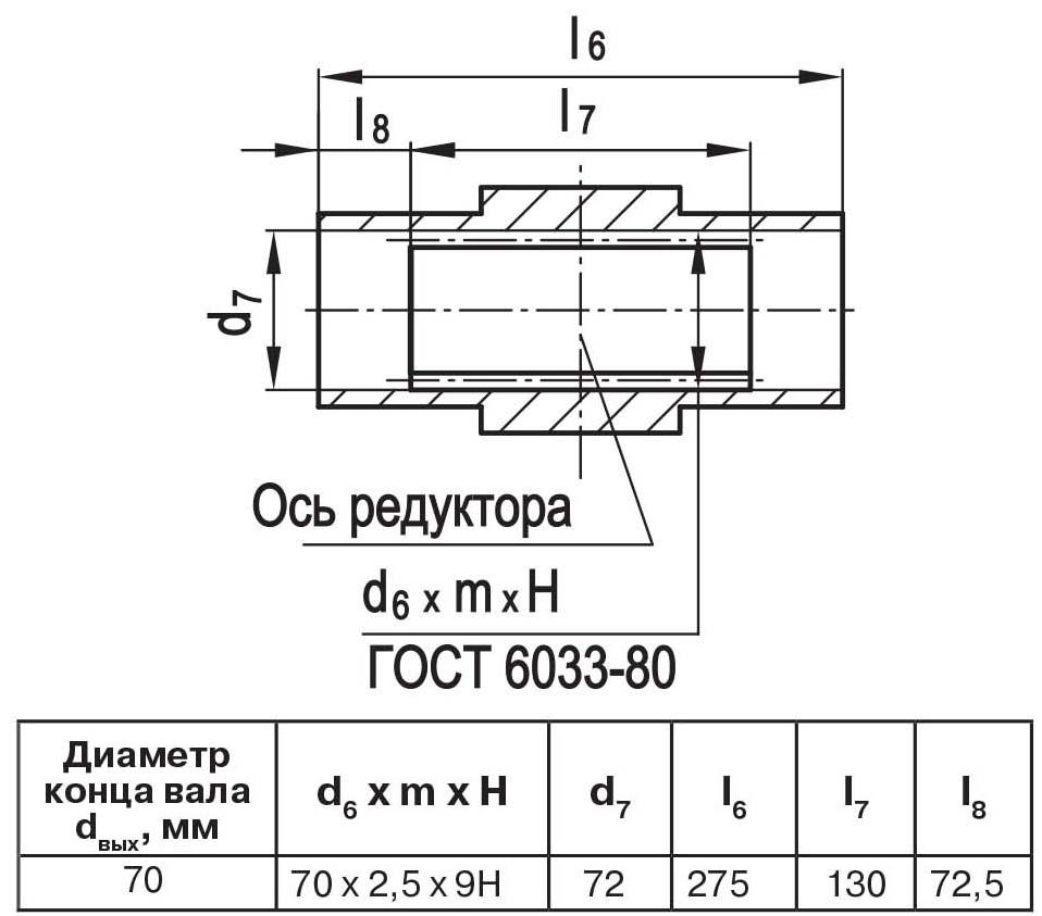 Чертеж выходного вала мотор-редуктора МЧ2 80/160 полый с шлицами