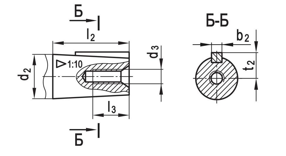 Чертеж вала конусного с внутренней резьбой планетарно-червячного редуктора ПЧ-100