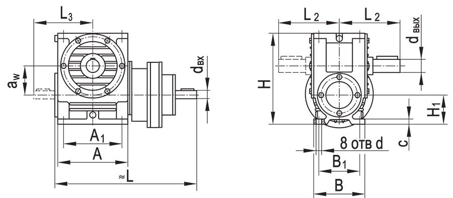 Чертеж планетарно-червячного редуктора ПЧ-100