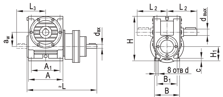 Чертеж планетарно-червячного редуктора ПЧ-125
