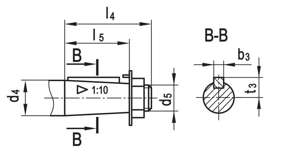 Чертеж вала конусного с наружной резьбой планетарно-червячного редуктора ПЧ-40