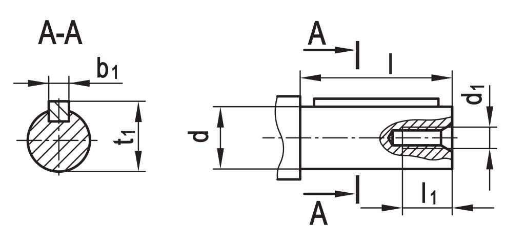 Чертеж цилиндрического входного вала планетарно-червячного редуктора ПЧ-80