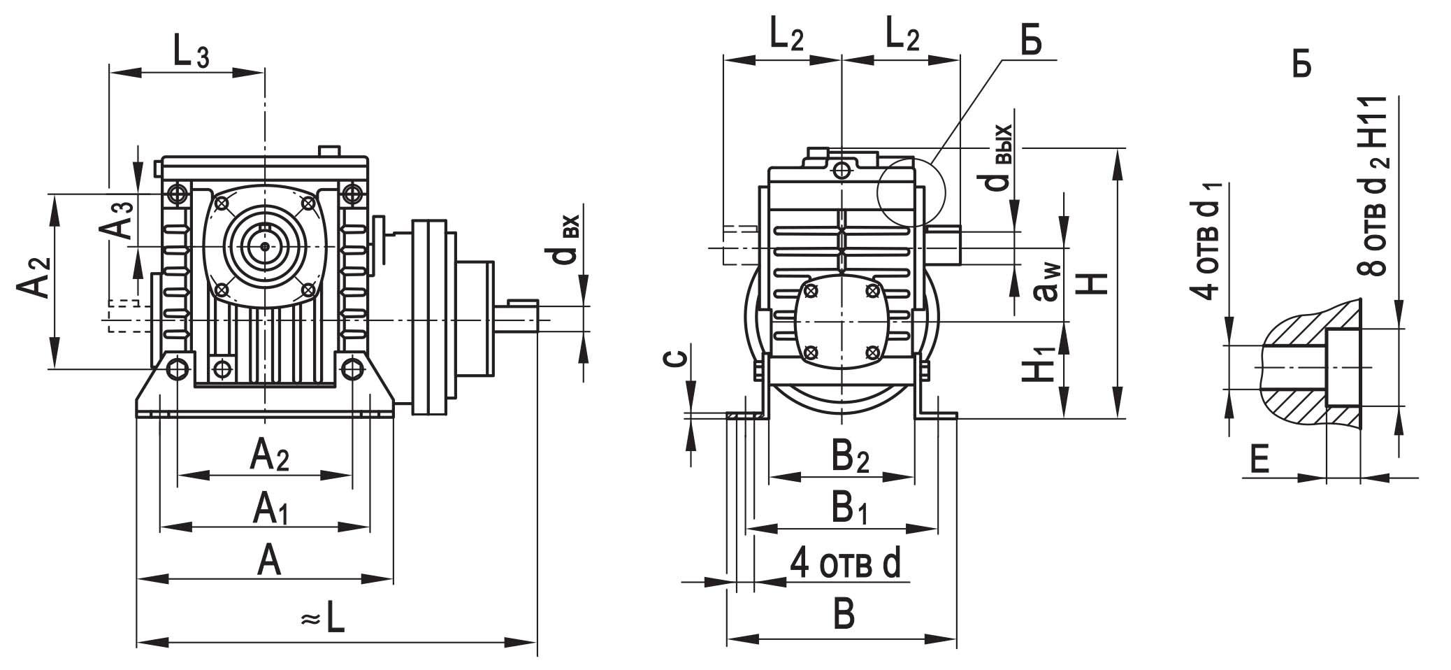 Чертеж планетарно-червячного редуктора ПЧ-80