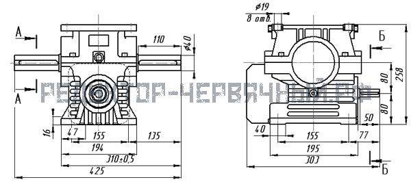 Чертеж редуктора 1Ч-80