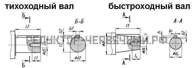 Чертеж быстроходного и тихоходного вала редуктора червячного 2Ч 63