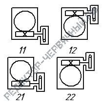 Расположение червячной пары редукторов Ч2