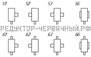 Схема исполнений редуктора 1Чг 125