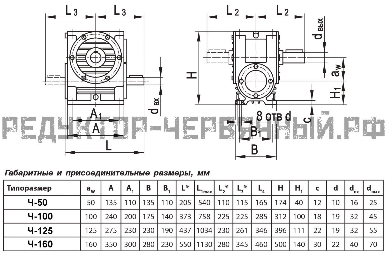 Чертеж редукторов Ч-50, Ч-100, Ч-125, Ч-160