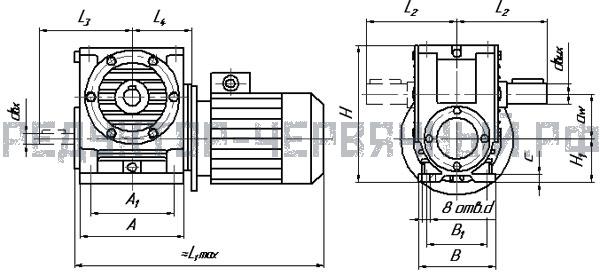 Чертеж мотор редуктора МЧ 125