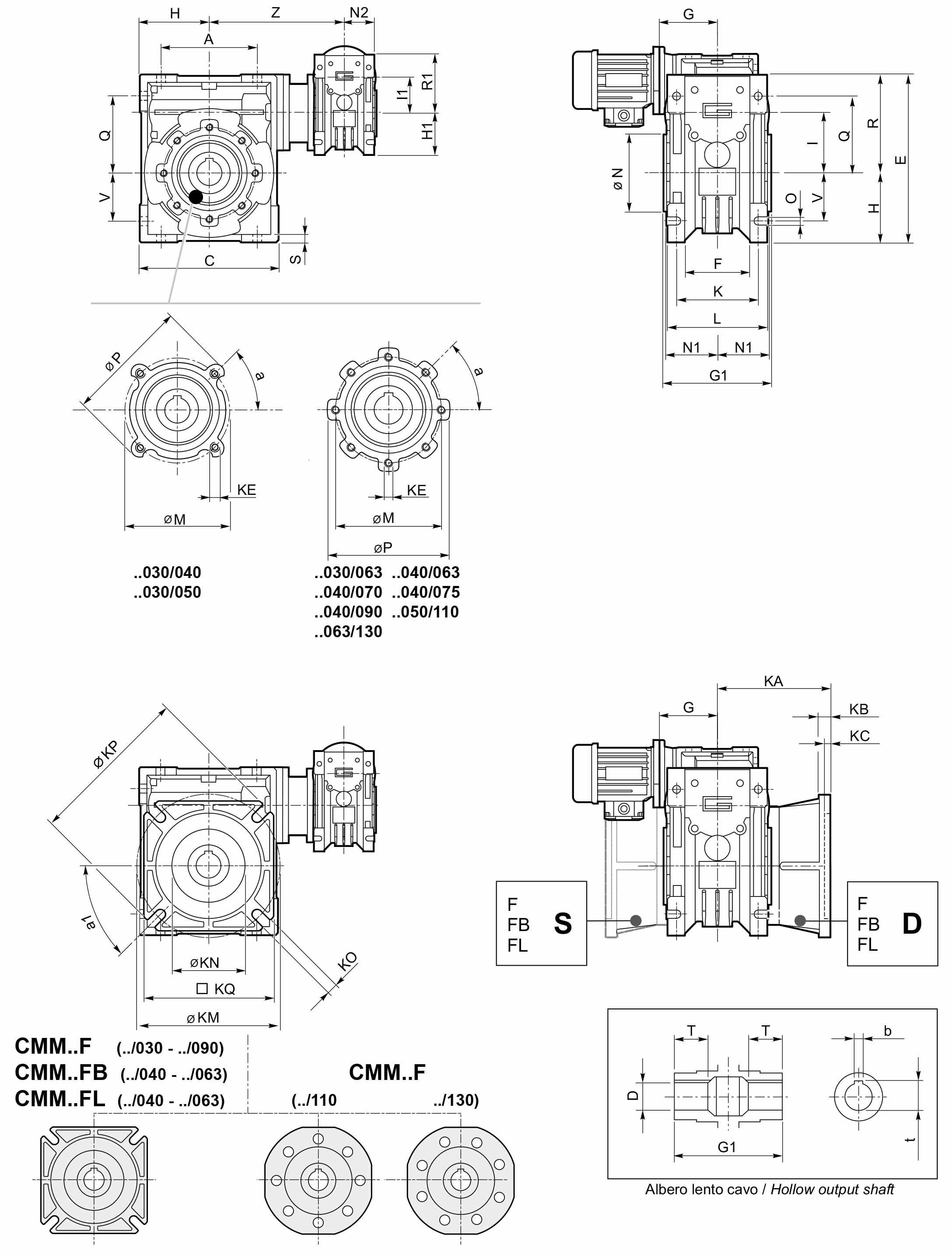Размеры мотор-редуктора CMM 040/070