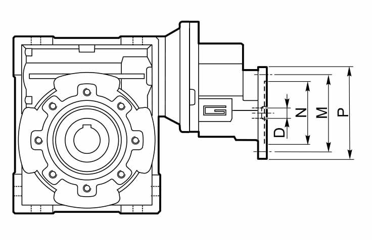 Размеры фланца первой ступени мотор-редуктора CMP