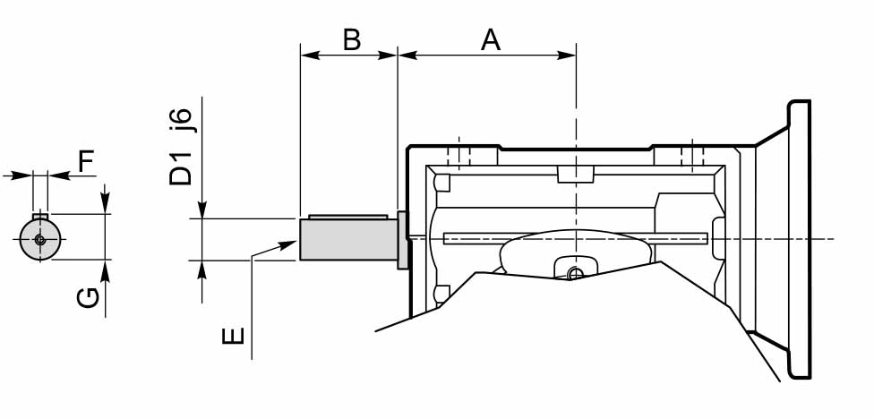 Размеры сквозного вала мотор-редуктора CMP