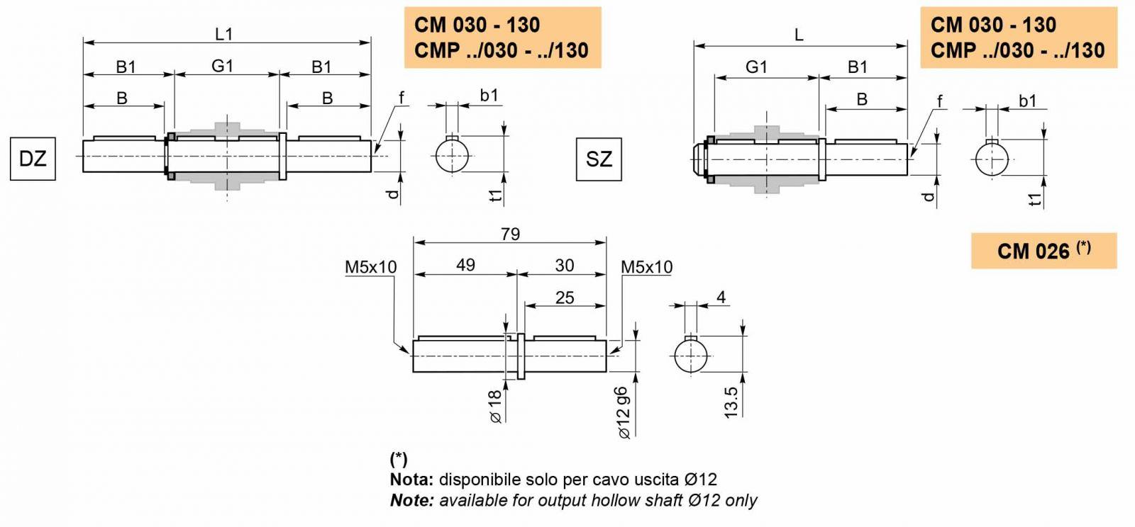 Размеры выходного вала мотор-редуктора CMP