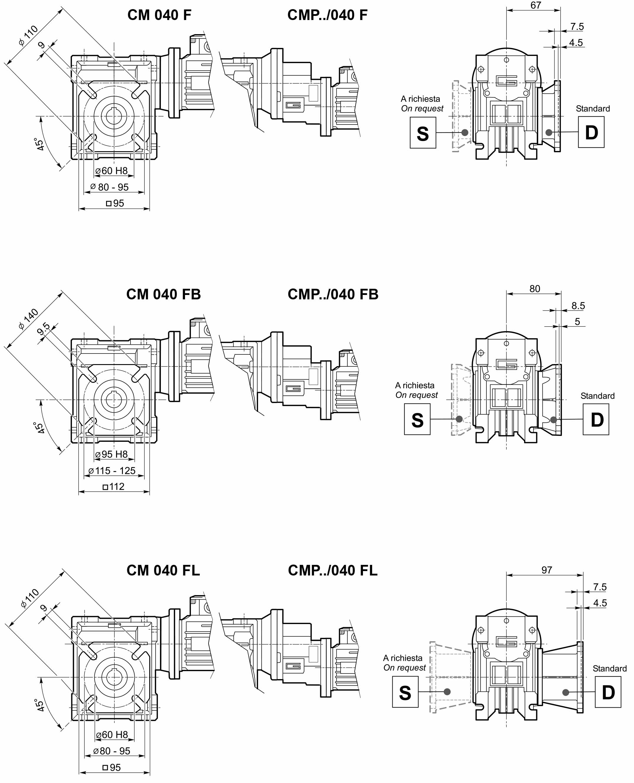 Размеры мотор-редуктора CM 040 в исполнении с фланцем