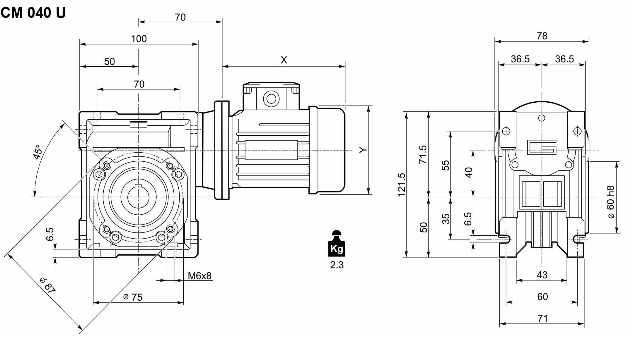 Размеры мотор-редуктора CM-040