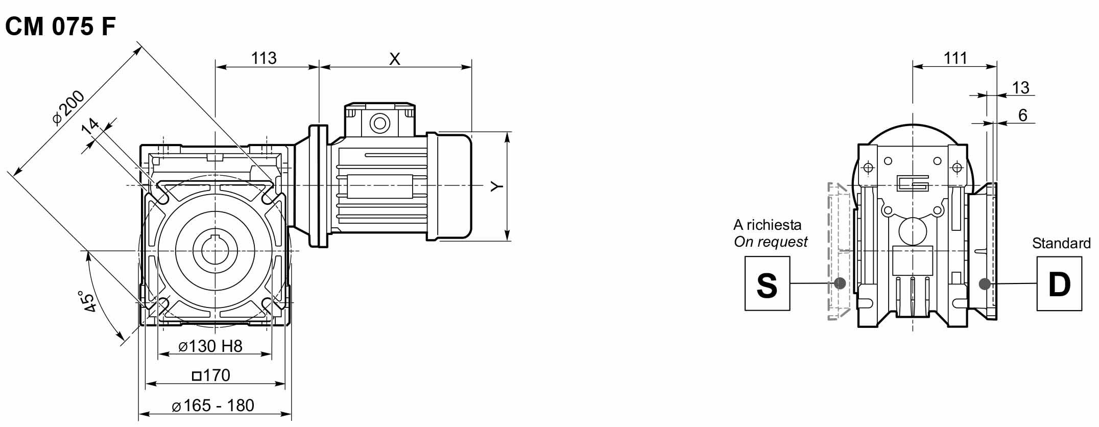 Размеры мотор-редуктора CM 075 в исполнении с фланцем