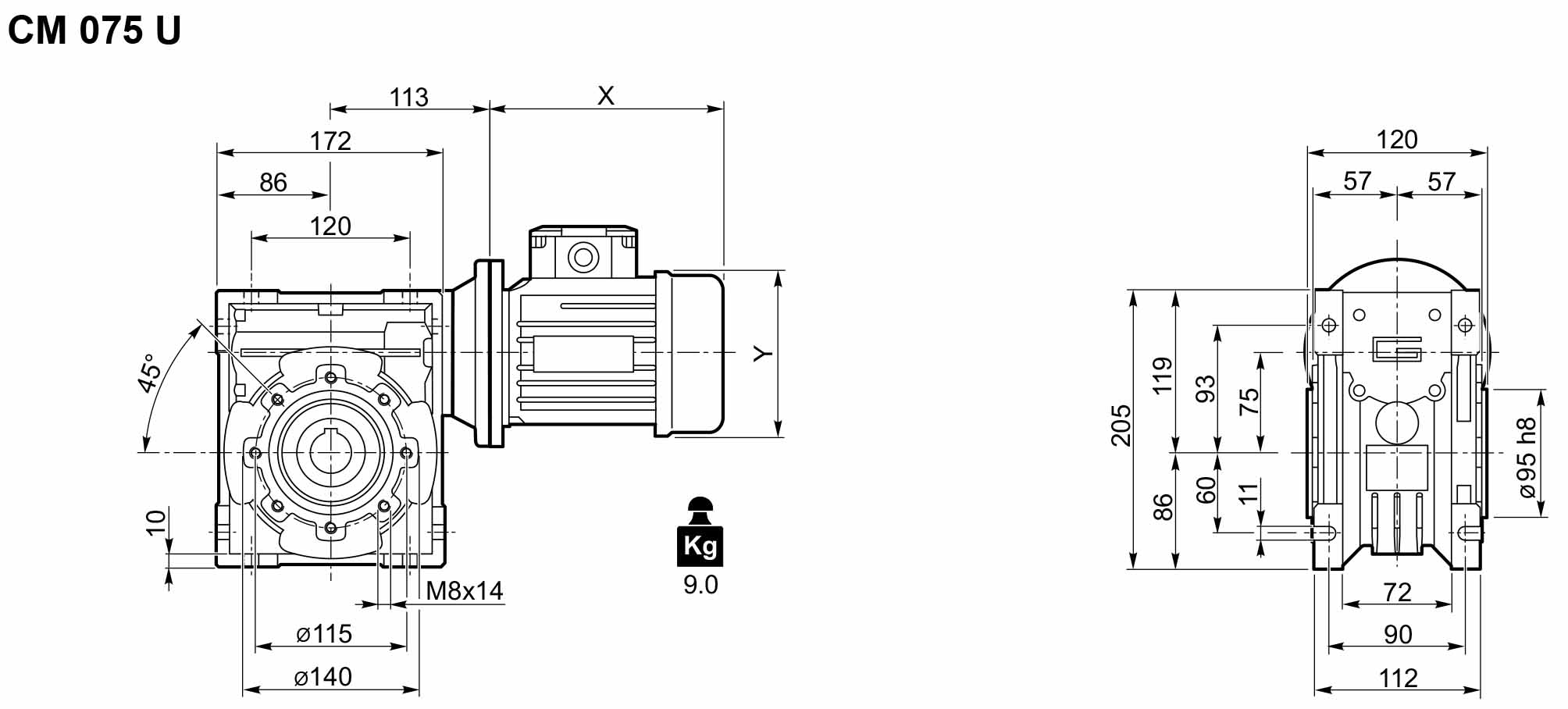 Размеры мотор-редуктора CM-075